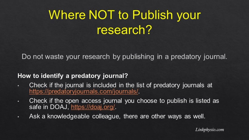 Where NOT to publish: Predatory Journals